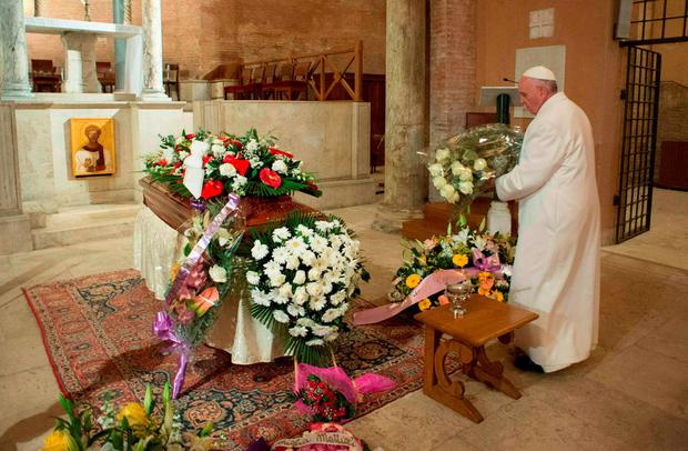 Pope Francis pays his respects infront of the coffin of his late secretary Miriam Wuolou at the Vatican