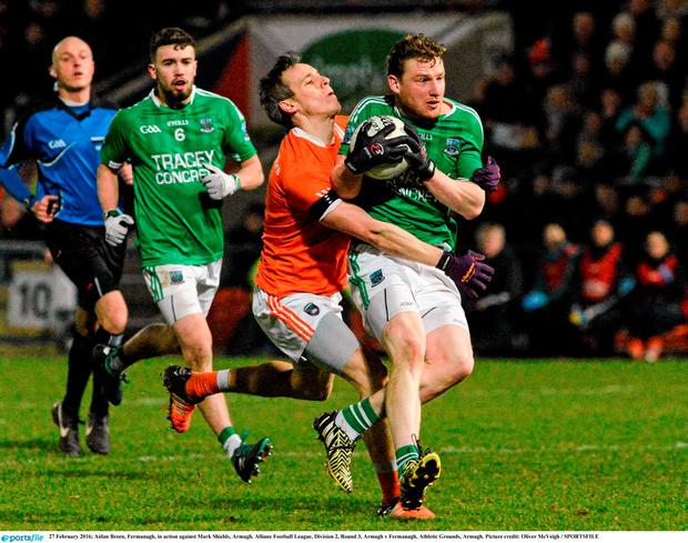 Aidan Breen, Fermanagh, in action against Mark Shields