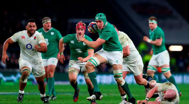 Ireland's Ultan Dillane charges upfield. Photo: Getty