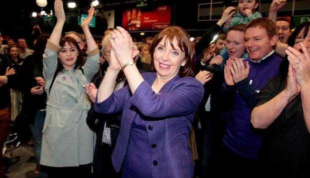 Roisin Shorthall,Social democrats with her husband Seamus O'Byrne ( partly hidden) their daughte Joanna (on left) and supporters following her election for Dublin North--West at the RDS yesterday.Pic Tom Burke 27/2/2/2016
