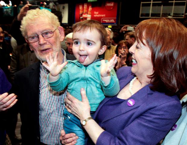 Roisin Shorthall,Social democrats pictured with 2 year old Dara Baxter,son of her niece Sarah Baxter and her husband Seamus O'Byrne following her election in Dublin North--West at the RDS yesterday.Pic Tom Burke 27/2/2/2016