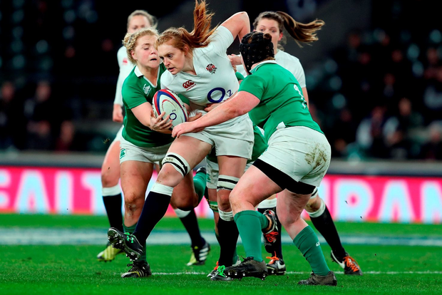 England's Harriet Millar-Mills (centre) during the 2016 RBS Women's Six Nations match at Twickenham Stadium, London. PRESS ASSOCIATION Photo. Picture date: Saturday February 27, 2016. See PA story RUGBYU England Women. Photo credit should read: David Davies/PA Wire. RESTRICTIONS: Editorial use only, No commercial use without prior permission, please contact PA Images for further information: Tel: +44 (0) 115 8447447.