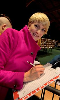 Averil Power,Independent candidatre in Dublin Bay North at the count in the RDS yesterday.Pic Tom Burke 27/2/2/2016