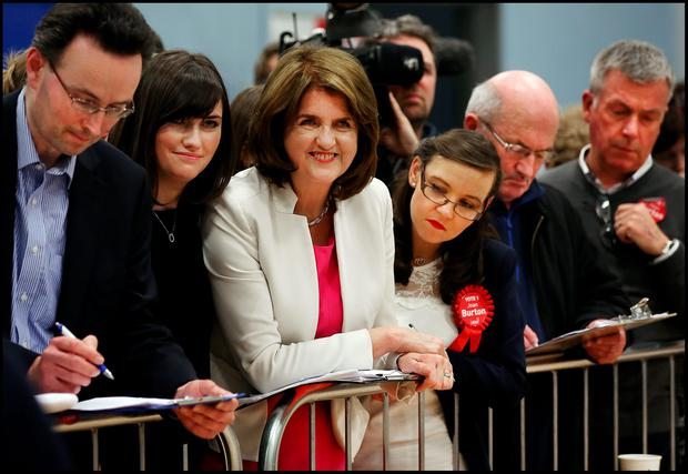 Labour Leader Joan Burton is elected at Phibblestown Community Hall in Dublin 15. Pic Steve Humphreys 27th February 2016