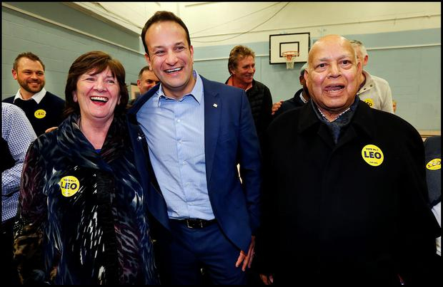 Leo Varadkar is elected at Phibblestown Community Hall in Dublin 15. He is pictured alongside his Mum and Dad Miriam and Ashok Varadkar. Pic Steve Humphreys