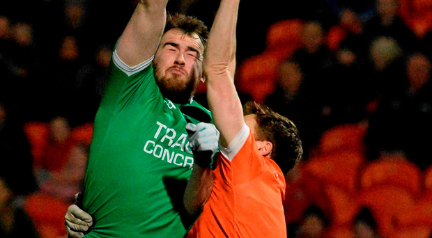 27 February 2016; Sean Quigley, Fermanagh, in action against Charlie Vernon, Armagh. Allianz Football League, Division 2, Round 3, Armagh v Fermanagh, Athletic Grounds, Armagh. Picture credit: Oliver McVeigh / SPORTSFILE