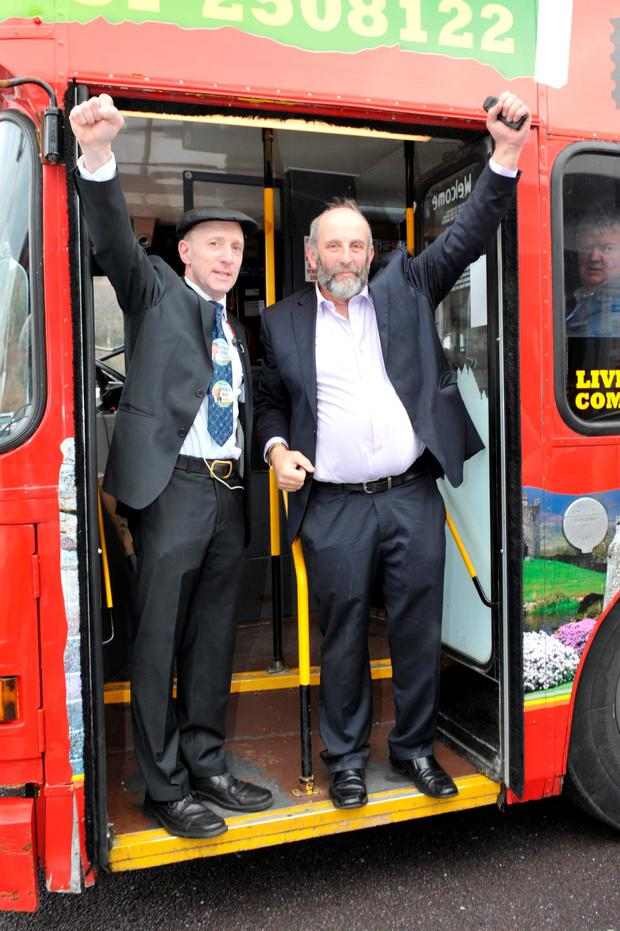 BROTHERS IN ARMS: Michael and Danny Healy-Rae arrive at the count centre yesterday morning. Photo: Don MacMonagle