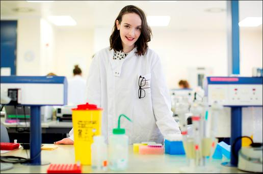 I'LL NEVER KNOW MY SAVIOUR: Rachel Lavin visits the laboratory of the Irish Unrelated Bone Marrow Registry where her anonymous donor was found. Photo: David Conachy