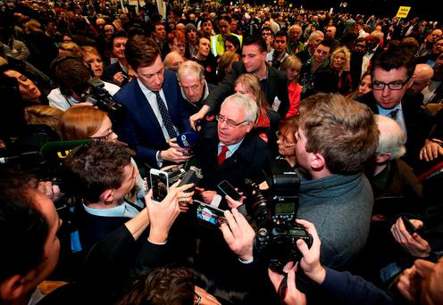 WATCHING AND WAITING: Labour candidate for Dublin Central Joe Costello speaks to the media. Photo: Brian Lawless/PA Wire