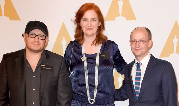 Lenny Abrahamson, screenwriter Emma Donoghue and producer Ed Guiney at the 88th Annual Academy Awards nominee lunch Photo: Steve Granitz/WireImage