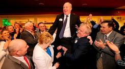 Michael Ring (FG) celebrates with wife Anne and supporters after he was elected for Mayo.