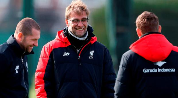 Liverpool manager Jurgen Klopp during a training session ahead of the Capital One Cup Final