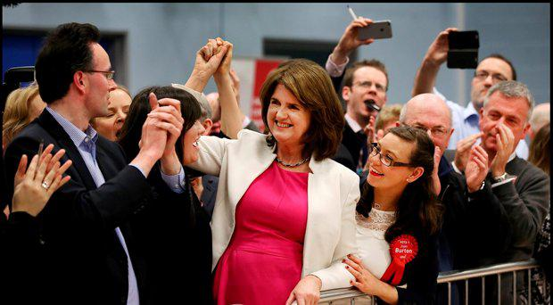 Labour Leader Joan Burton is elected at Phibblestown Community Hall in Dublin 15. Pic Steve Humphreys