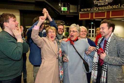 Katherine Zappone celebrates at City West Election Count Centre, but a recount was called for today.
