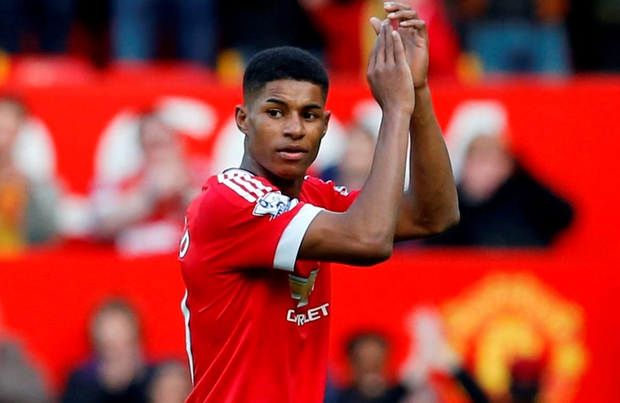 Manchester United's Marcus Rashford applauds their fans after the match Reuters / Phil Noble.
