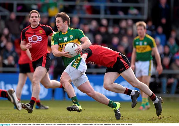 Stephen O'Brien, Kerry, in action against Luke Howard, Down. Allianz Football League, Division 1, Round 3, Down v Kerry, Páirc Esler, Newry, Co. Down. Picture credit: Brendan Moran / SPORTSFILE