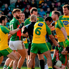 Players from both sides involved in an incident in the second half after a penalty that was awarded to Mayo as Diarmuid O'Connor goes to ground
