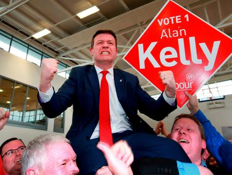 Labour's Alan Kelly celebrates with his supporters at the Count center in Thurles, after he won the last seat in the Tipperary Constituency. Picture Credit : Frank Mc Grath 28/2/16
