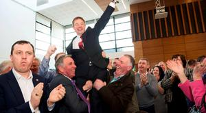 Eamon O'Cuiv who retained his seat celebrates at the Galway West count centre for the General Election 2016 in the Bailey Allen Hall NUI, Galway