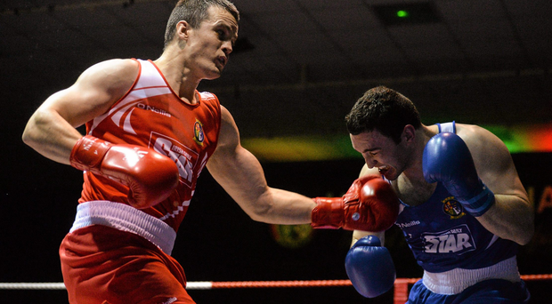 Darren O'Neill boxing Stephen McMonagle at the 2015 IABA National Elite Championships, National Boxing Stadium, Dublin. Picture credit: Piaras Ó Mídheach / SPORTSFILE