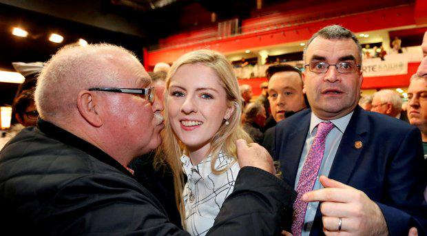 Lisa Chambers is congratulated with Dara Calleary after they were elected for Mayo