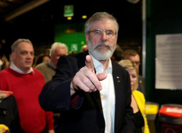Sein Fein leader, Gerry Adams points the way at the RDS count centre. Picture credit; Damien Eagers 26/2/2016