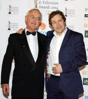 Frank Kelly and Ardal O'Hanlon attend the Irish Film and Television Awards at the Burlington Hotel on October 30, 2004