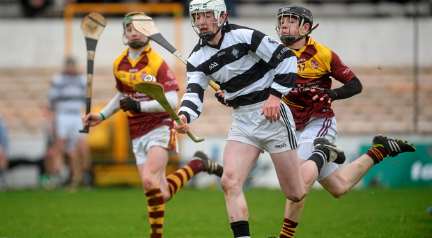 Padraic Mullen, St. Kierans, in action against Jordan Molloy, Kilkenny CBS. Photo: Piaras Ó Mídheach/Sportsfile