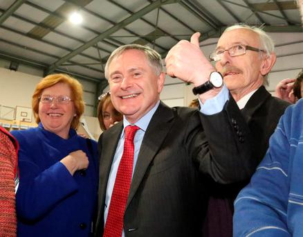 Brendan Howlin gives the thumbs up after he topped the poll in Wexford. Photo: Mary Browne
