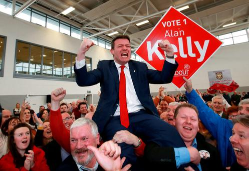 Labour Party deputy leader Alan Kelly celebrates with supporters at the count centre in Thurles after he won the last seat in the Tipperary constituency. Photo: Frank McGrath