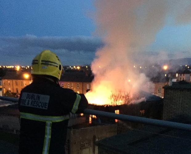 Fire crews battle blazing fire in Dublin city centre. Credit: @arthur_deabreu