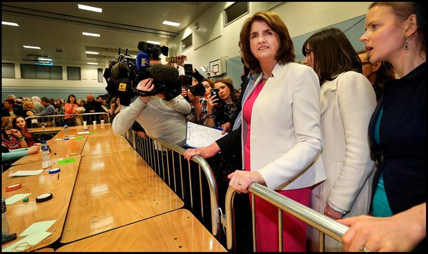 Labour Leader Joan Burton arriving at Phibblestown Community Hall in Dublin 15. Pic Steve Humphreys 27th February 2016