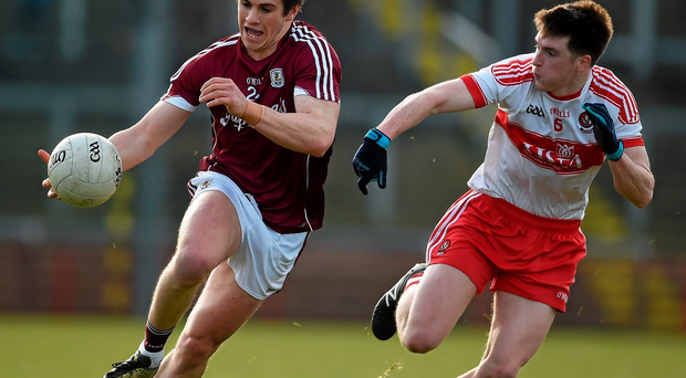Shane Walsh, Galway, in action against Mark Craig, Derry. Photo: Philip Fitzpatrick/Sportsfile