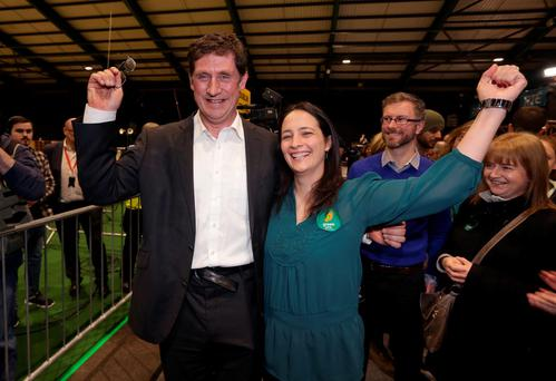 Green Party leader Eamon Ryan celebrates with Catherine Martin after he was elected in Dublin Bay South. Picture: Damien Eagers
