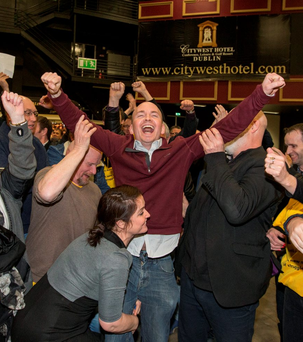 Paul Murphy celebrates after being elected at the Citywest count centre. Photo: C'O'Riordan