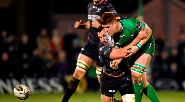 Connacht's Sean O'Brien is tackled by Joe Bearman during the match against the Ospreys at Sportsground, Galway. Photo: Cody Glenn/Sportsfile