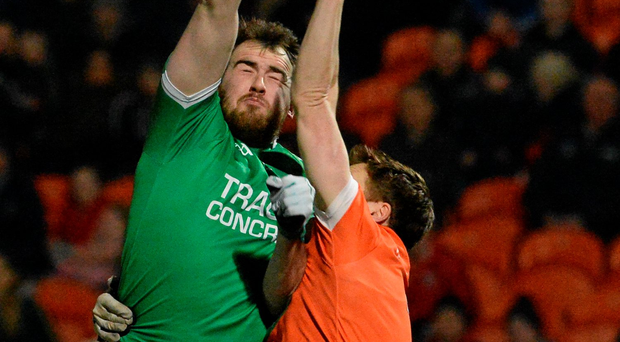 Sean Quigley, Fermanagh, in action against Charlie Vernon, Armagh. Photo: Oliver McVeigh/Sportsfile