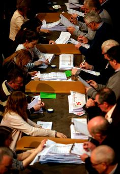 Counting of General Election votes in Castlebar Co. Mayo. Photo: Gerry Mooney