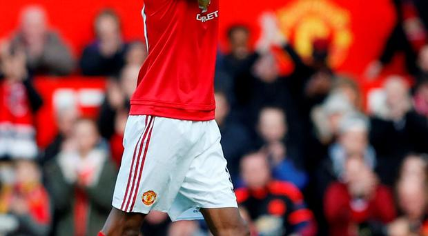 Manchester United's Marcus Rashford applauds the fans after the match. Photo: Phil Noble/Reuters