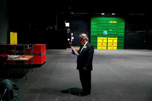 Independent Dublin Bay North candidate Tommy Broughan at the count centre in the RDS yesterday. Photo: PA
