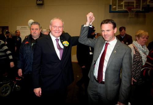 Deputy first Minister of the Northern assembley Martin McGuinness with Cllr John Brady at the Shoreline Centre, Greystones, Wicklow. Picture: Garry O'Neill