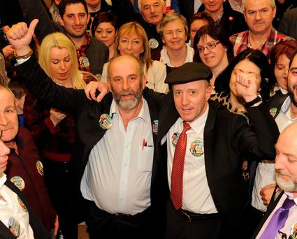Danny Healy-Rae in celebratory mood with his brother Michael. Photo: Eamonn Keogh