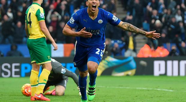 Leonardo Ulloa celebrates after scoring Leicester City's goal. Photo: Alan Walter/Action Images
