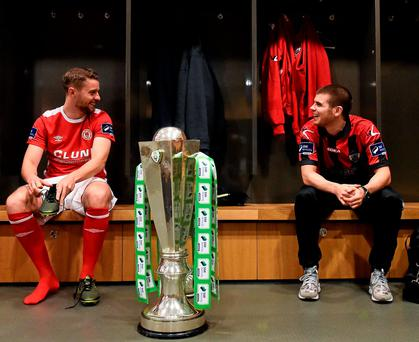 Ger O'Brien and Longford Town's Conor Powell at the launch of the new Airtricity League season at the Aviva Stadium. Photo: David Maher/Sportsfile