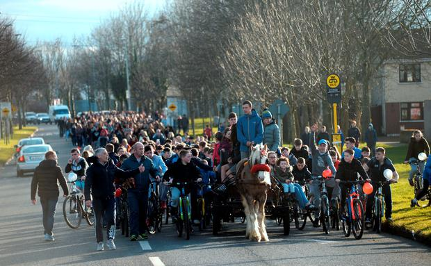Thousands came out to show respect for much-loved local boy Sean Doyle. Photo: Caroline Quinn