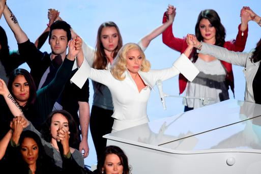 Singer-songwriter Lady Gaga performs onstage during the 88th Annual Academy Awards at the Dolby Theatre on February 28, 2016 in Hollywood, California. (Photo by Kevin Winter/Getty Images)