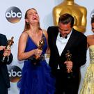 Best Supporting Actor Mark Rylance (L), Best Actress Brie Larson, Best Actor Leonardo DiCaprio and Best Supporting Actress Alicia Vikander (R) pose with their Oscars backstage at the 88th Academy Awards in Hollywood, California February 28, 2016. REUTERS/Mike Blake TPX IMAGES OF THE DAY