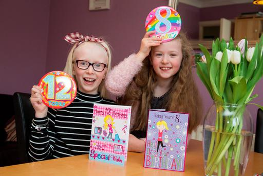 Leap Year Birthday Sisters, Lana (12) and Robyn (8), McKeon pictured at their Blanchardstown home yesterday.