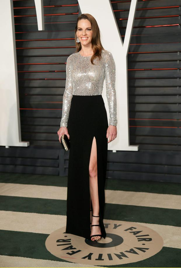 Actress Hilary Swank arrives at the Vanity Fair Oscar Party in Beverly Hills, California February 28, 2016. REUTERS/Danny Moloshok