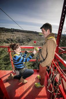 Jenny Holland zips in to propose to boyfriend Brian Donnelly